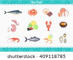 Seafood Set Design Flat Fish...