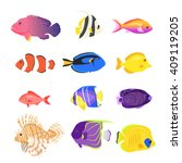 set of sea fish color design... | Shutterstock .eps vector #409119205