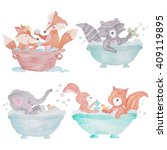 Woodland Animals In The Bath...