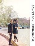 beautiful couple in love... | Shutterstock . vector #409127479