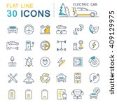 set vector line icons in flat... | Shutterstock .eps vector #409129975