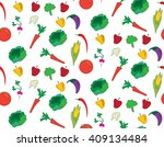 assorted vegetables seamless... | Shutterstock .eps vector #409134484