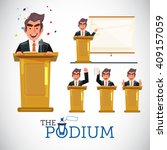 smart man speaking on podium in ... | Shutterstock .eps vector #409157059