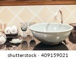 beautiful luxury sink... | Shutterstock . vector #409159021