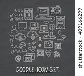 set of universal doodle icons.... | Shutterstock .eps vector #409166299