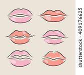 set of isolated women lips on... | Shutterstock .eps vector #409176625