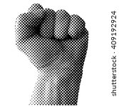 dotted raised fist vector... | Shutterstock .eps vector #409192924