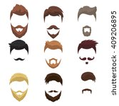 set of men cartoon hairstyles... | Shutterstock .eps vector #409206895