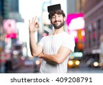 young man funny expression | Shutterstock . vector #409208791