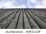 Very tall  protective fortress wooden wall - stock photo