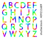 rainbow letters with square... | Shutterstock .eps vector #409211689