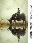 asian girl sitting on back of...   Shutterstock . vector #409213261