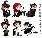 cute witches isolated on white... | Shutterstock . vector #409222669