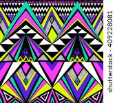 neon colors tribal navajo... | Shutterstock .eps vector #409228081