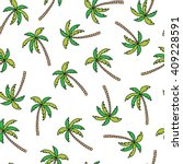 palm tree doodle seamless... | Shutterstock .eps vector #409228591