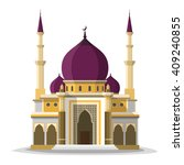 Muslim Mosque Isolated Flat...
