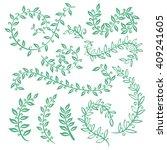 set wreaths and laurel. hand... | Shutterstock . vector #409241605