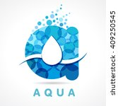 letter a water drop logo icon... | Shutterstock .eps vector #409250545