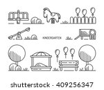 childrens playground with... | Shutterstock .eps vector #409256347