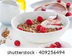 homemade oat meal granola or... | Shutterstock . vector #409256494