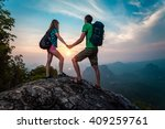 couple in love standing on the... | Shutterstock . vector #409259761
