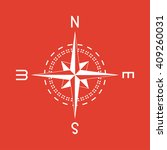 compass icon on red background.