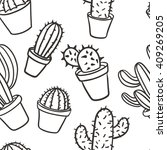 seamless pattern with cactus.... | Shutterstock .eps vector #409269205