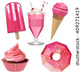 sweet delicious icons of pink... | Shutterstock .eps vector #409271419