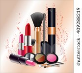 cosmetics set for a beautiful... | Shutterstock .eps vector #409288219