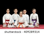 children in kimono sitting on... | Shutterstock . vector #409289314