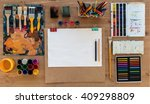 painter workplace top view... | Shutterstock . vector #409298809
