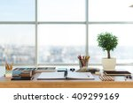 artist workplace ready for... | Shutterstock . vector #409299169