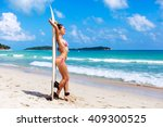 sexy pretty tanned young sporty ... | Shutterstock . vector #409300525