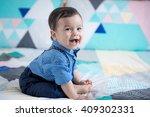 adorable mixed race 11 month... | Shutterstock . vector #409302331