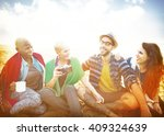 friends beach vacation relaxing ... | Shutterstock . vector #409324639