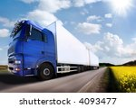 truck driving on country road... | Shutterstock . vector #4093477