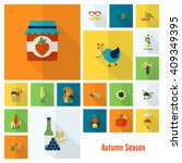 set of flat autumn icons.... | Shutterstock .eps vector #409349395