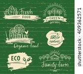 organic food label and logos... | Shutterstock .eps vector #409362571