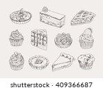 vintage bakery hand drawn... | Shutterstock .eps vector #409366687