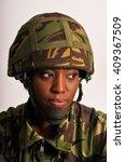 pensive black female british... | Shutterstock . vector #409367509