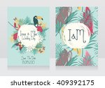 wedding cards with tropical... | Shutterstock .eps vector #409392175