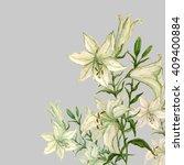lily flower watercolor...   Shutterstock . vector #409400884