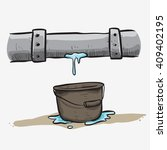 leaking pipe and water drop in... | Shutterstock .eps vector #409402195