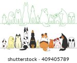 various posing dogs in a row | Shutterstock .eps vector #409405789