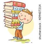 little boy is carrying a big... | Shutterstock .eps vector #409407214