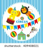 cute circus animals collection. ... | Shutterstock .eps vector #409408021