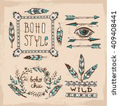 set of boho style  hand drawn... | Shutterstock .eps vector #409408441