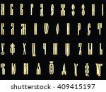 gold slovenian old letter on ...   Shutterstock .eps vector #409415197