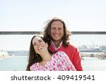 smiling couple summer portrait | Shutterstock . vector #409419541