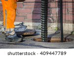 Sewerage Worker On Street...